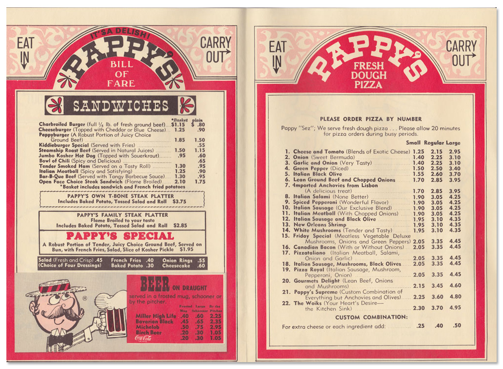 PappyS Beef  Beer Menu I Used To Go To The One At The Corner Of