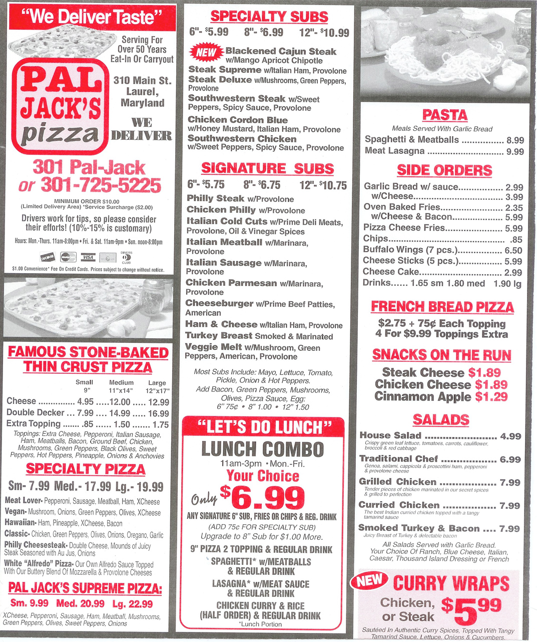 Pizza friday pal jack s lost laurel for Pizzeria gina st priest menu