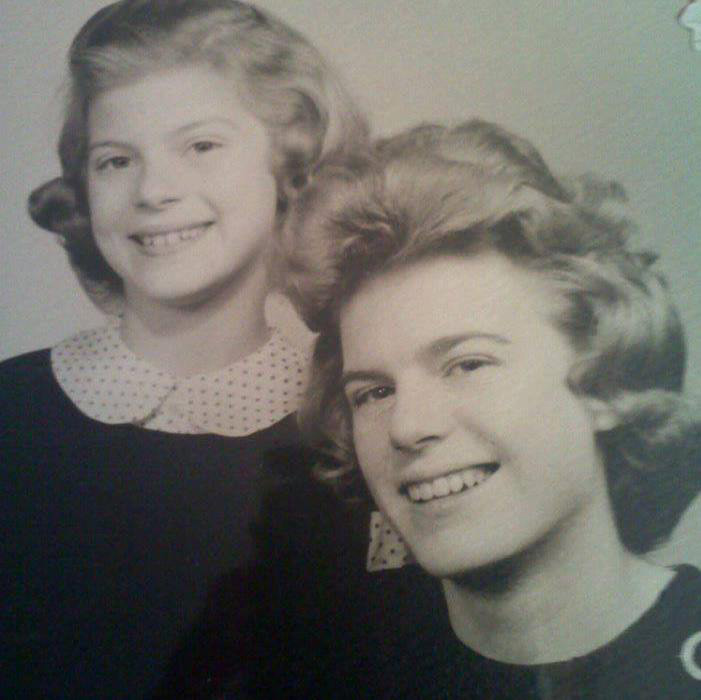 Stefanie (left) with older sister Margaret. (Family photo courtesy of Kate Adams).