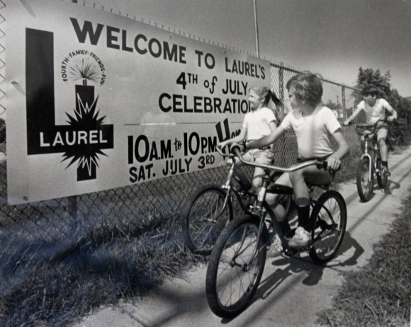 This banner from 1982 adorned the 8th Street Field fence directly across from Stefanie's apartment. (Laurel Historical Society collection).
