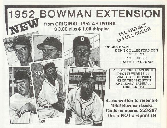 Den's 1952 Bowman Extension ad