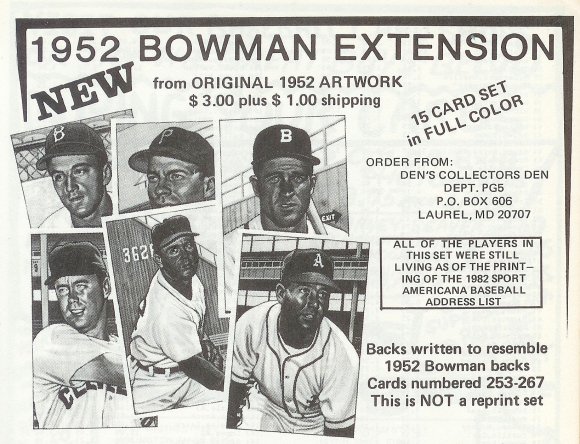 Den's 1952 Bowman Extension ad