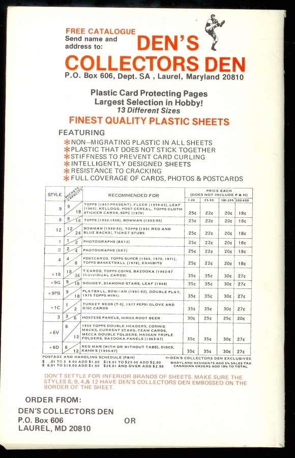 Den's ad, 1978 checklist back