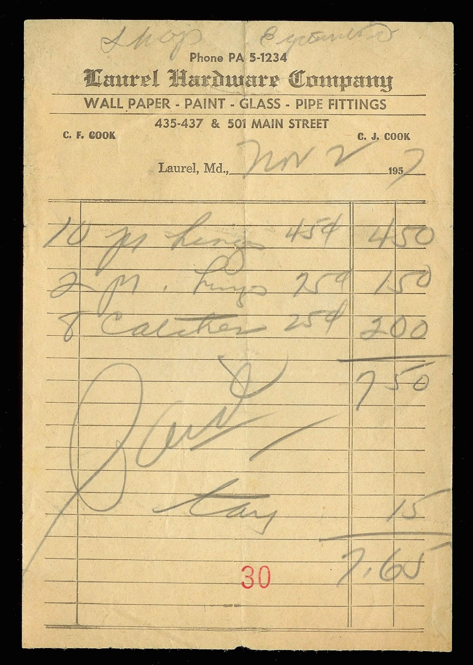 handwritten receipt