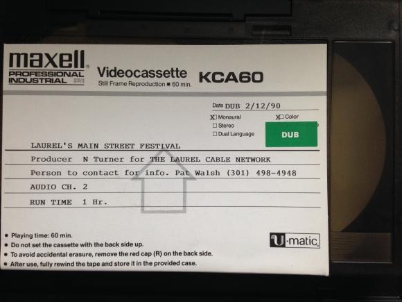1989 Main Street Festival videotape label