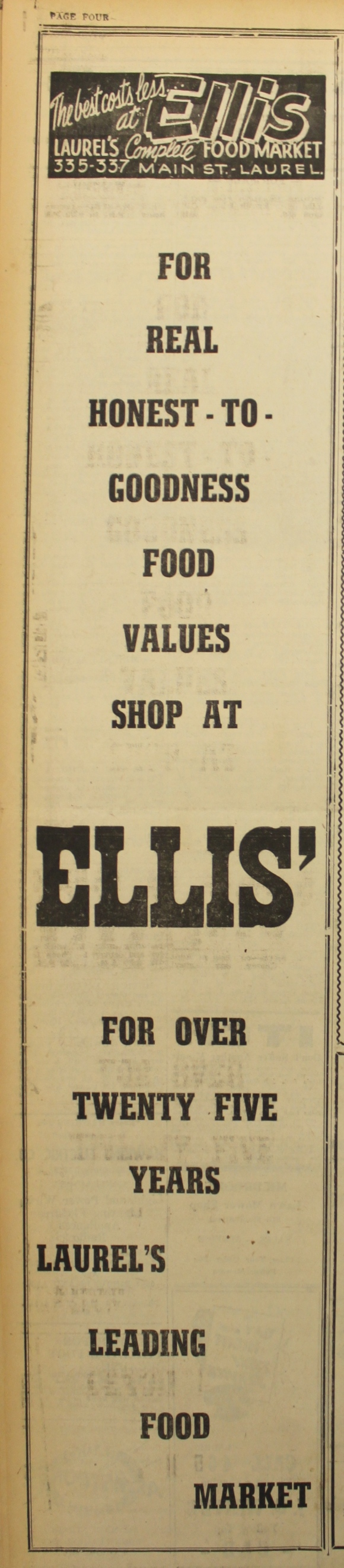 Laurel News Leader ad, 1948
