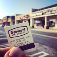Stewart Men's Clothes was one of the original tenants of Laurel Shopping Center when it opened in 1956. It was located in the space where Hobby Works—itself a long-time tenant—remains today.