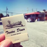 Thankfully, the Tastee Diner is still open around the clock, but here's a 1980s-era matchbook that features artwork of one of their FORMER locations—the current 29 Diner in Fairfax, VA.